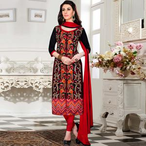 Beautiful Black - Red Colored Party Wear Embroidered Cotton Dress Material