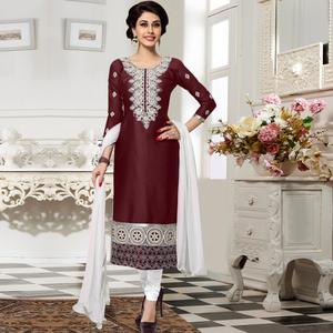 Gorgeous Brown Colored Party Wear Embroidered Cotton Dress Material