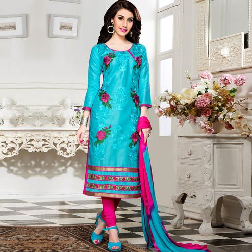 Classy Sky Blue Colored Party Wear Embroidered Cotton Dress Material
