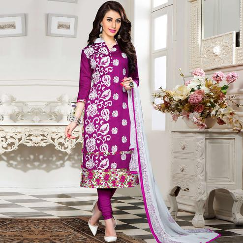 Glorious Purple Colored Party Wear Embroidered Cotton Dress Material