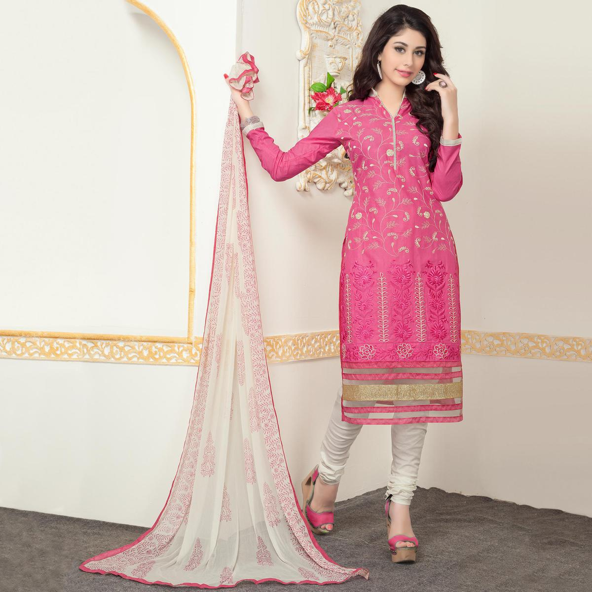 Amazing Pink Colored Party Wear Embroidered Cotton Suit