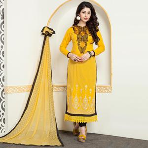 Preferable Yellow Colored Party Wear Embroidered Cotton Suit