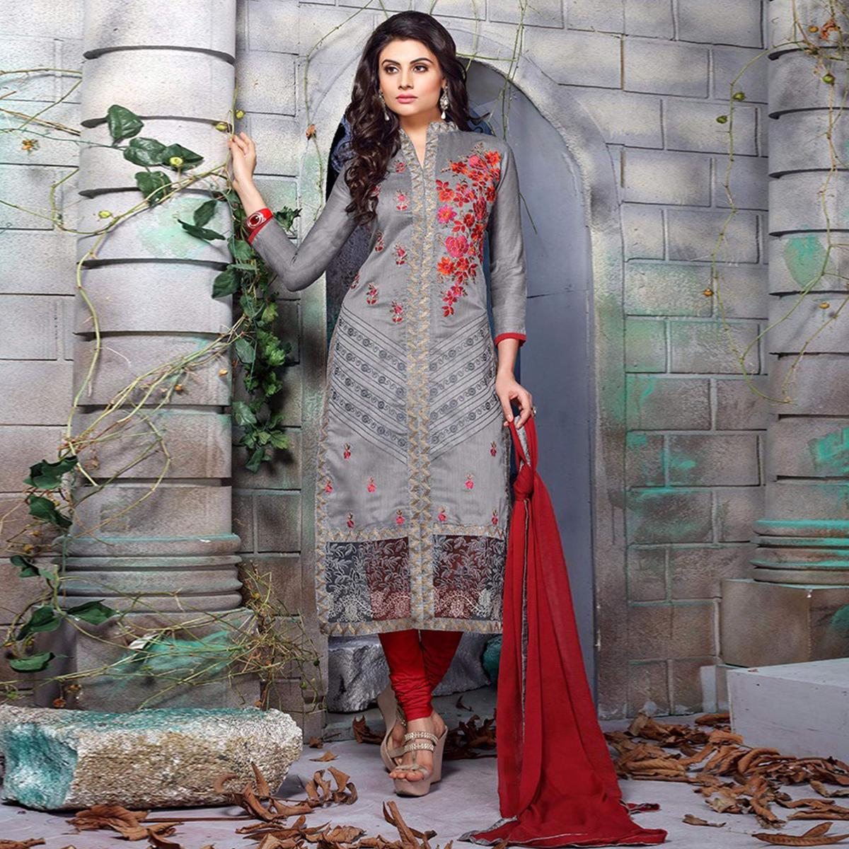 Majesty Grey Colored Party Wear Embroidered Chanderi Silk Dress Material
