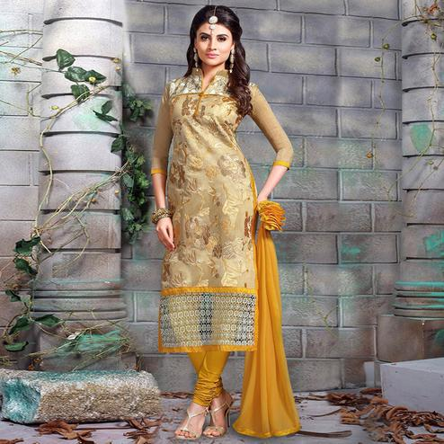 Preferable Golden Colored Party Wear Embroidered Chanderi Silk Dress Material