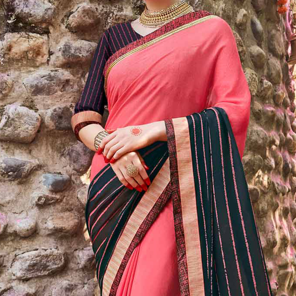 Gajri Pink - Black Georgette Saree