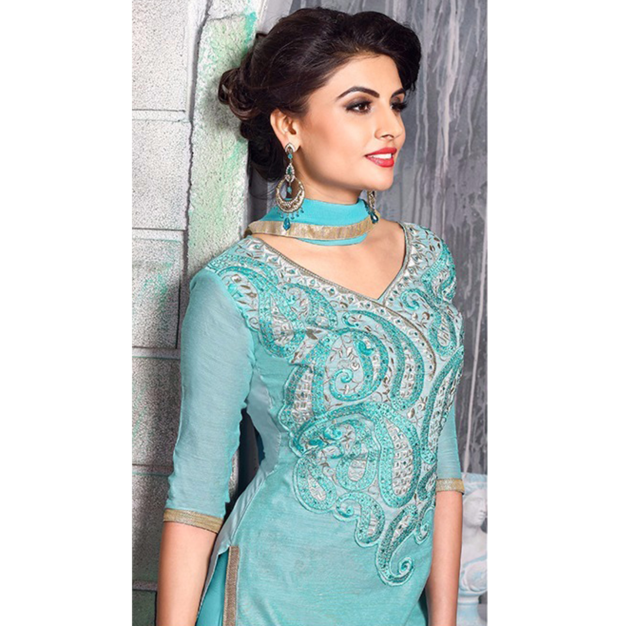 Beautiful Teal Blue Colored Party Wear Embroidered Chanderi Silk Dress Material
