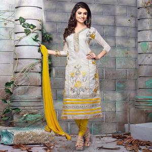 Classy Grey Colored Party Wear Embroidered Chanderi Silk Dress Material