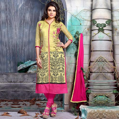 Glorious Yellow Colored Party Wear Embroidered Chanderi Silk Dress Material