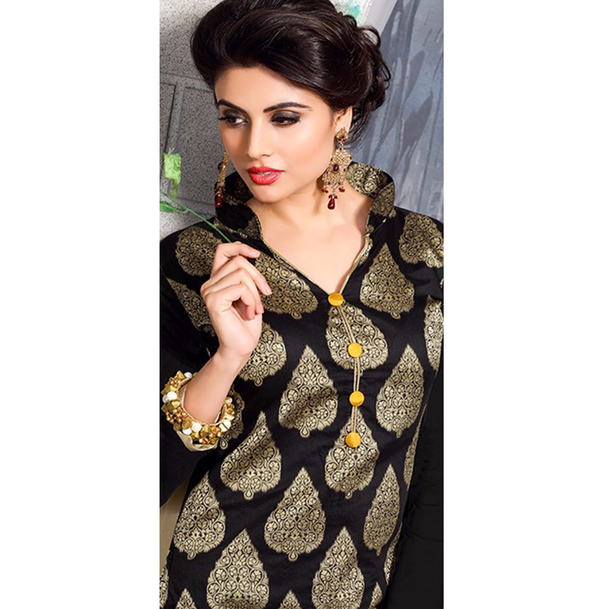 Graceful Black Colored Party Wear Embroidered Chanderi Silk Dress Material