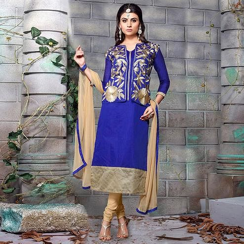 Pretty Royal Blue Colored Party Wear Embroidered Chanderi Silk Dress Material