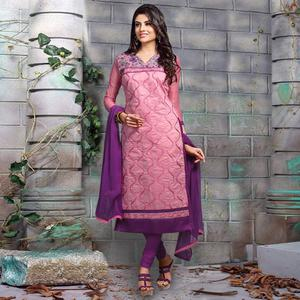 Charming Pink Colored Party Wear Embroidered Chanderi Silk Dress Material