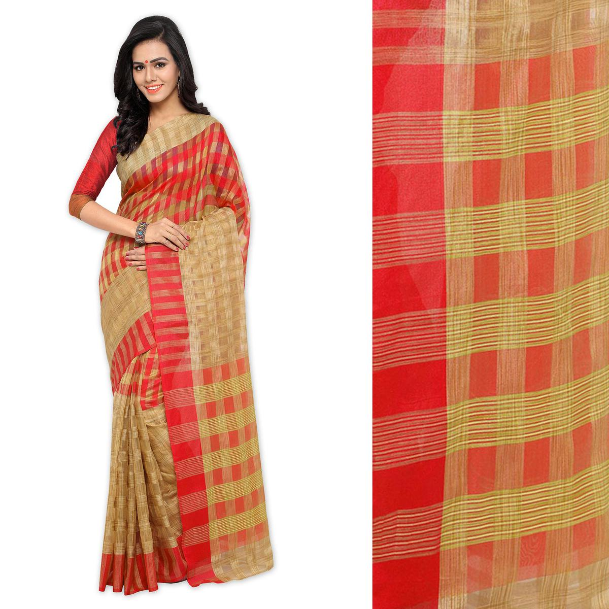 Beige Red Checkered Woven Saree