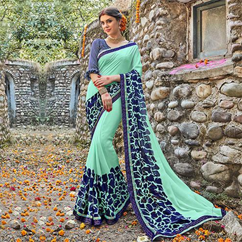 Aqua Green Fancy Print Georgette Saree
