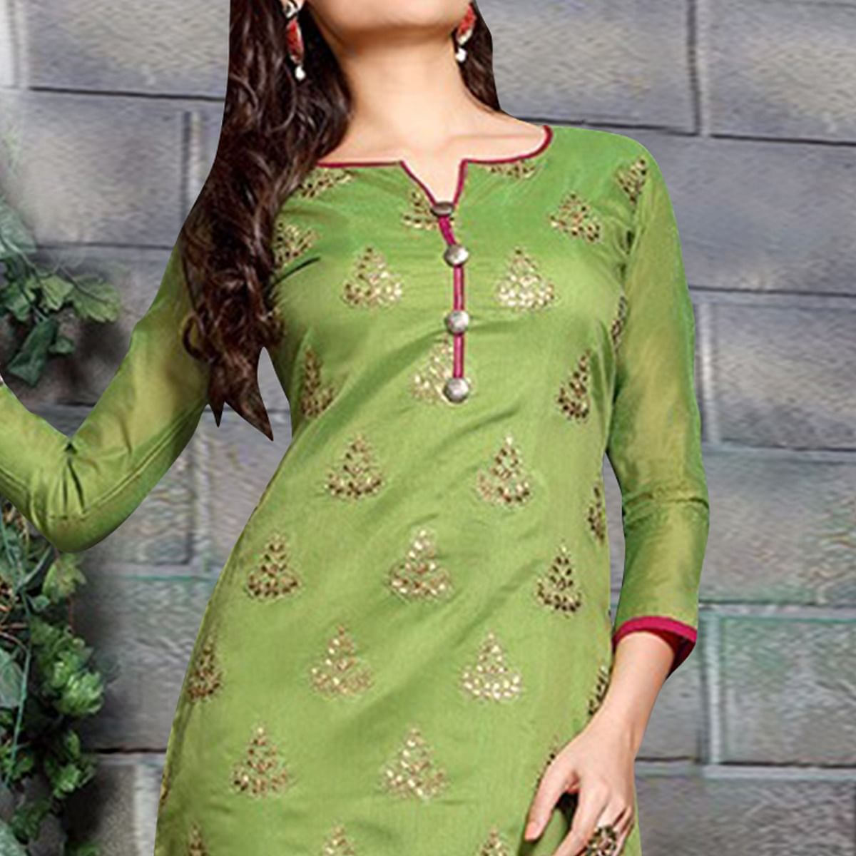 Amazing Green Colored Party Wear Embroidered Chanderi Silk Dress Material