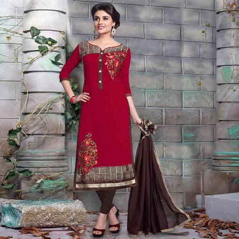 Delightful Maroon Colored Party Wear Embroidered Chanderi Silk Dress Material