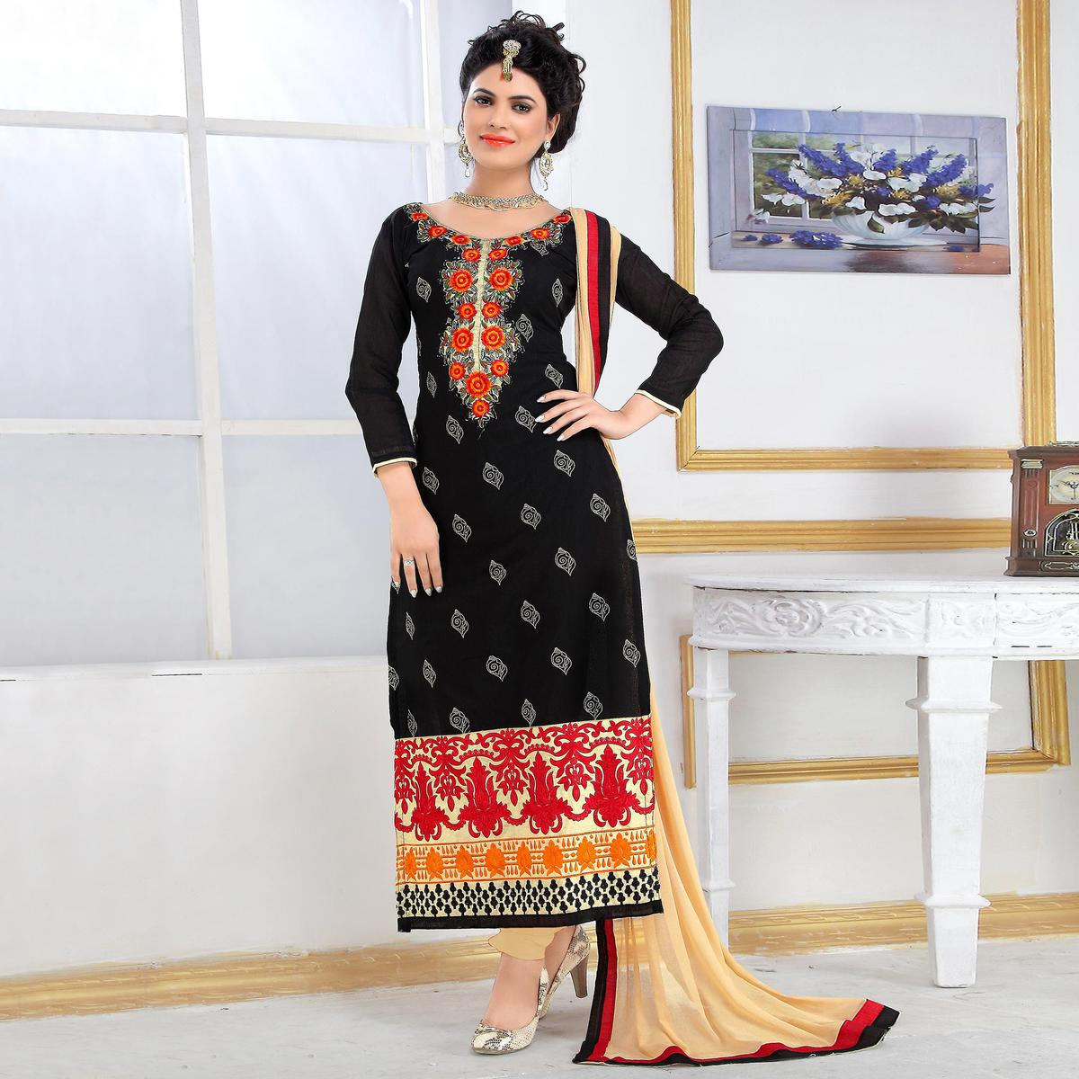 73c12a9ae4 Buy Blooming Black Colored Party Wear Embroidered Chanderi Silk Dress  Material for womens online India