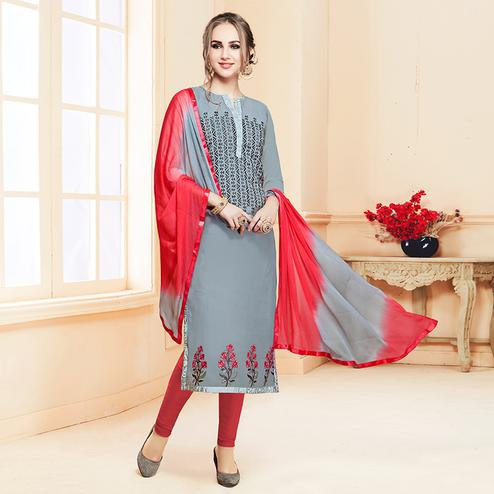 Eye-Catching Gray Colored Partywear Embroidered Cotton Dress Material