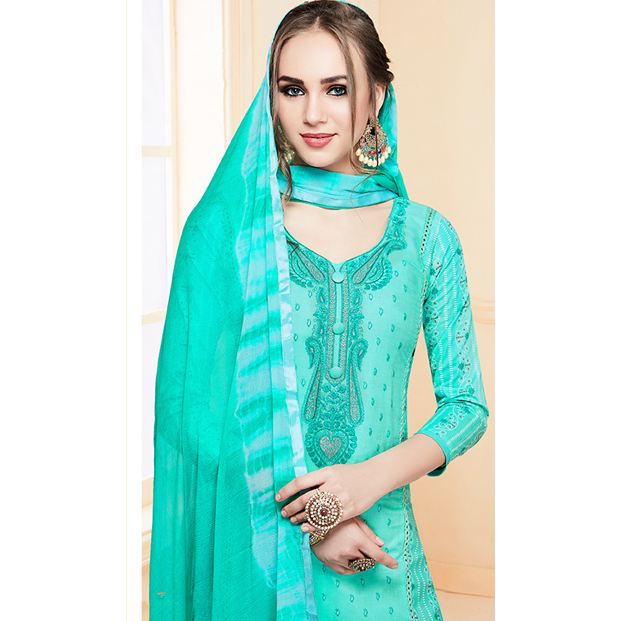 Glowing Aqua Blue Colored Partywear Embroidered Cotton Dress Material