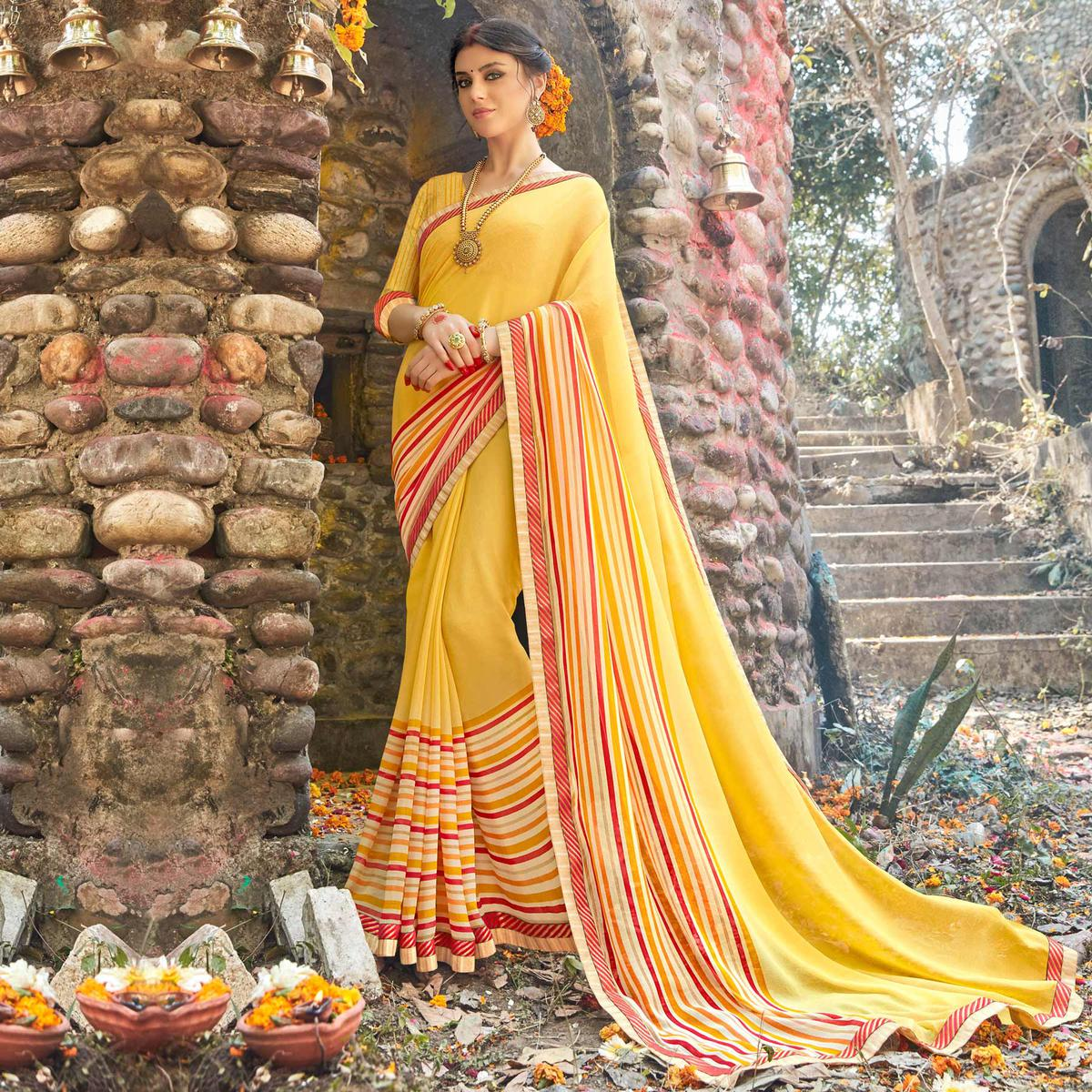 Yellow Print & Lace Work Georgette Saree