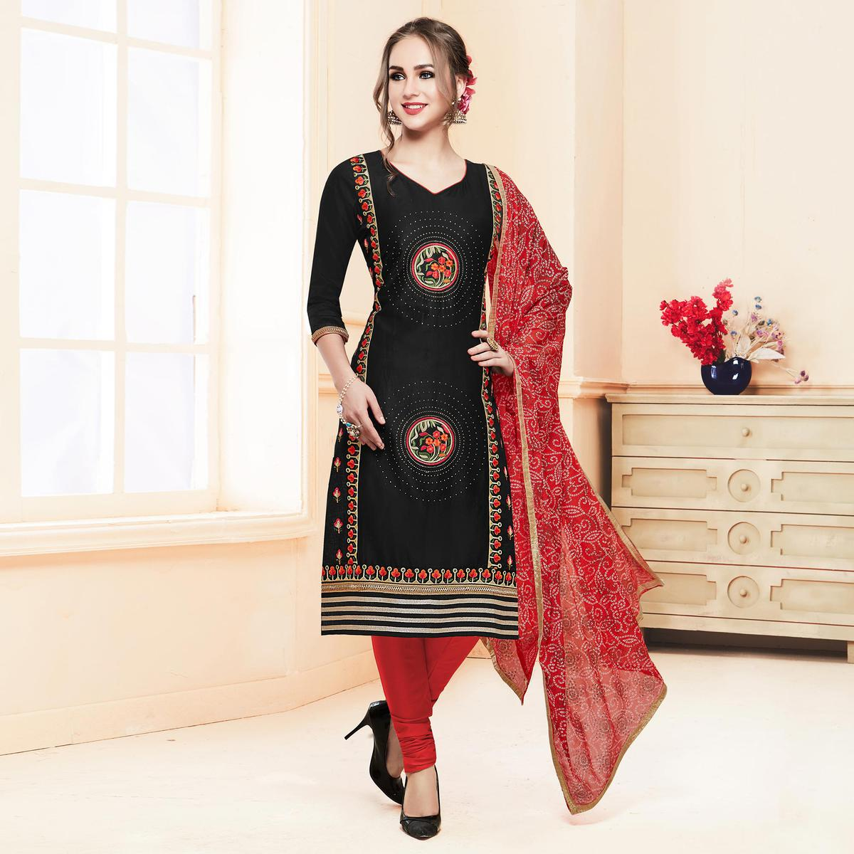 Classy Black Colored Partywear Embroidered Cotton Dress Material