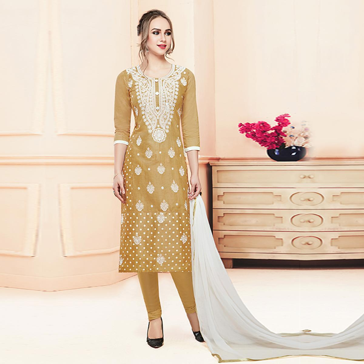 Desiring Beige Colored Partywear Embroidered Cotton Dress Material