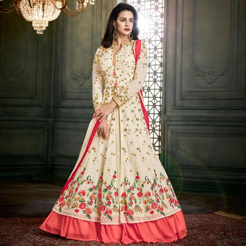 Breathtaking Off White Colored Party Wear Embroidered Georgette Lehenga Suit