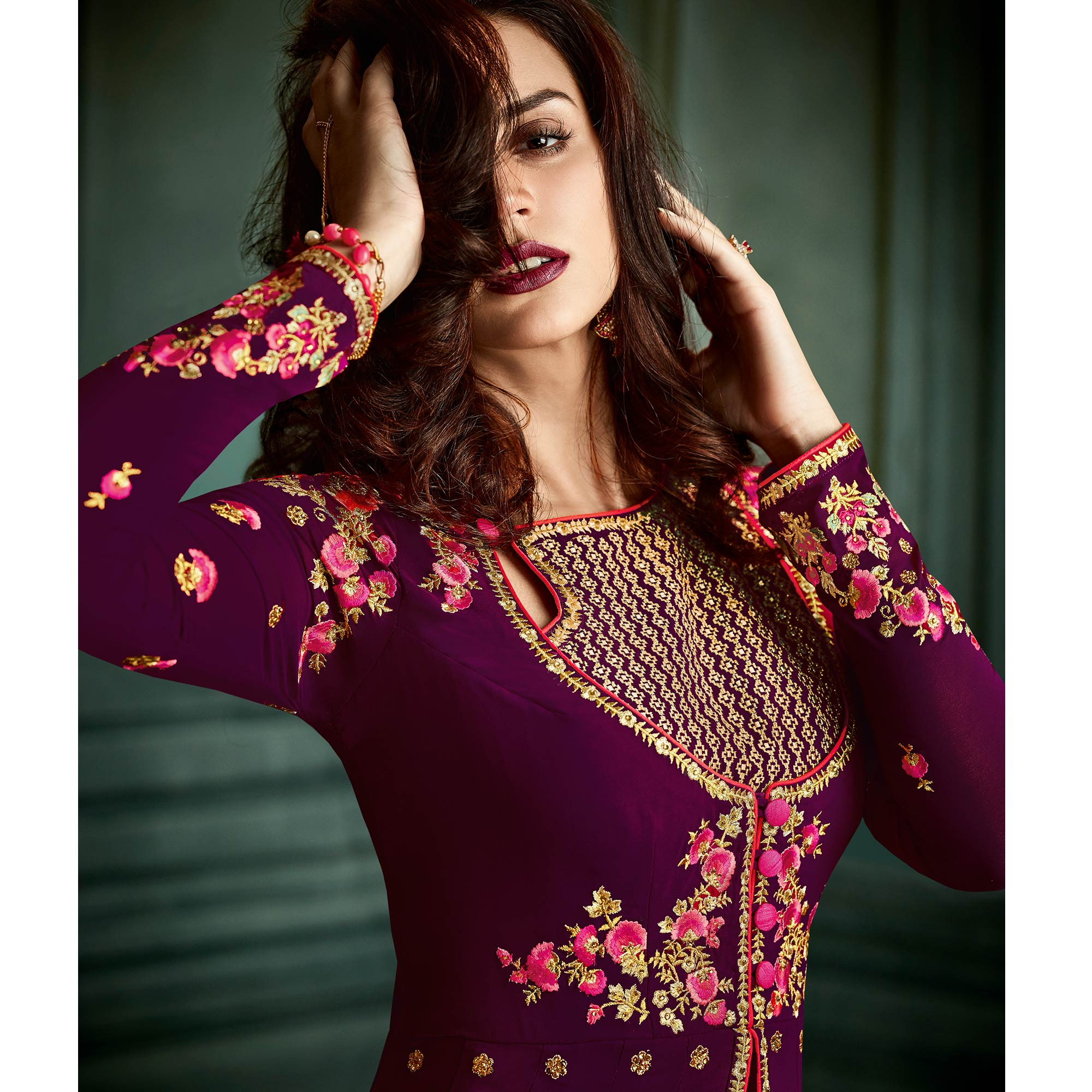 Impressive Purple Colored Party Wear Embroidered Georgette Lehenga Suit