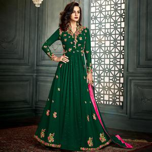 Innovative Green Colored Party Wear Embroidered Georgette Anarkali Suit