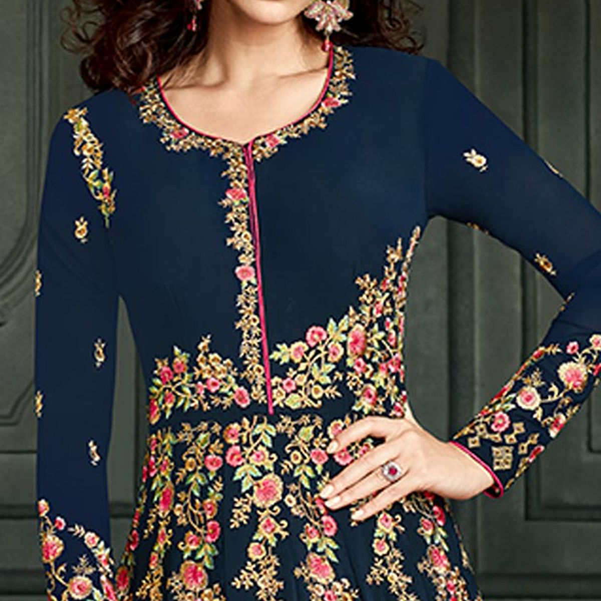 Gleaming Navy Blue Colored Party Wear Embroidered Georgette Anarkali Suit