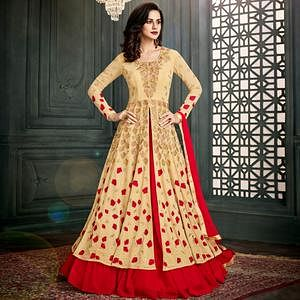 Arresting Beige-Red Colored Party Wear Embroidered Georgette Lehenga Suit
