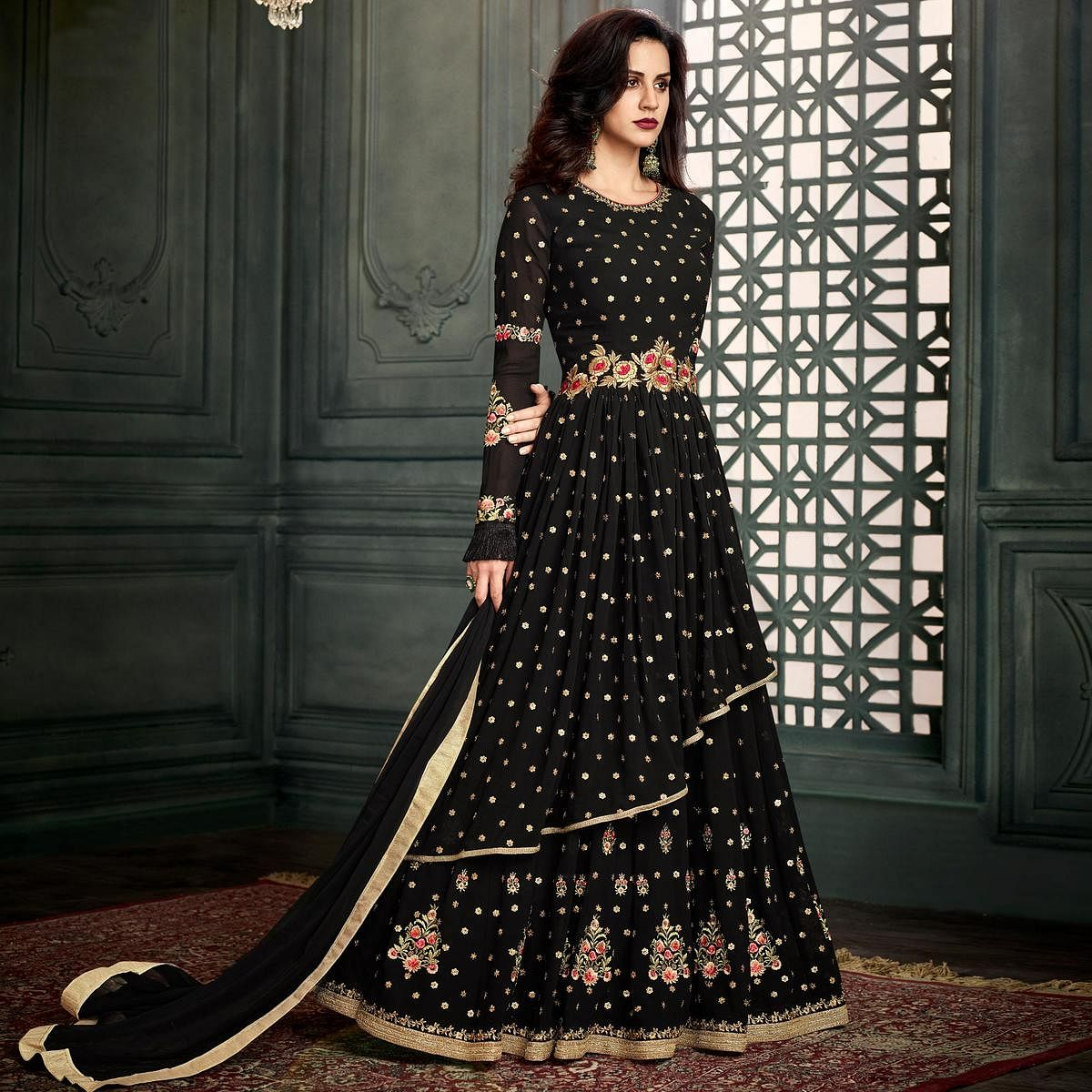 Exceptional Black Colored Party Wear Embroidered Georgette Anarkali Suit