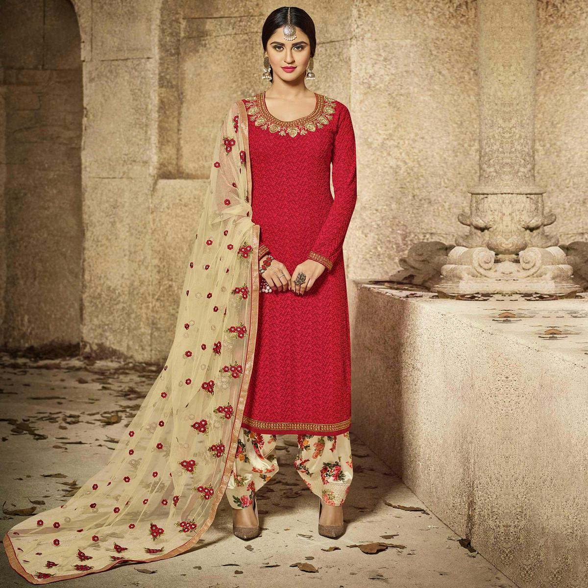 Eye-Catchy Red Party Wear Embroidered Georgette Salwar Suit