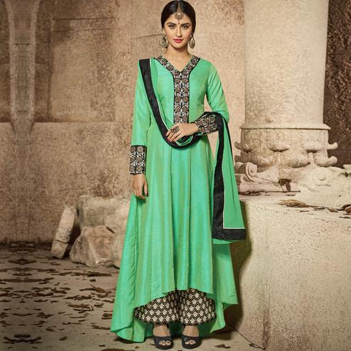 Gorgeous Sea Green Party Wear Embroidered Banarsi Silk Anarkali Suit