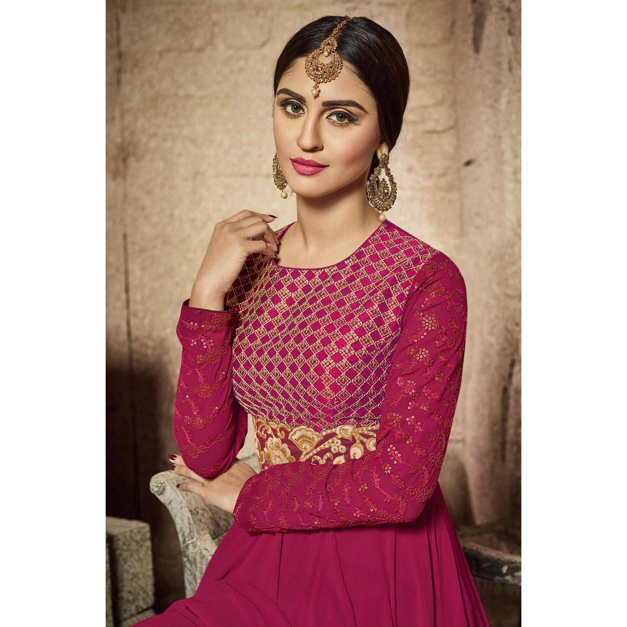 Sizzling Magenta Party Wear Embroidered Georgette Anarkali Suit