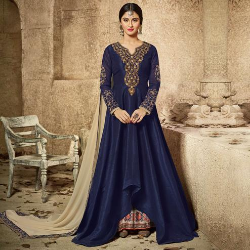 Ravishing Navy Blue Party Wear Embroidered Mulberry Silk Anarkali Suit