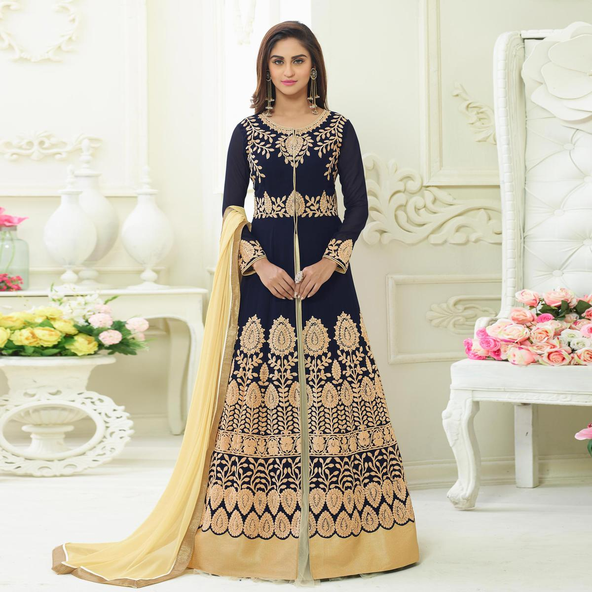 Gleaming Blue Colored Embroidered Party Wear Georgette Lehenga Suit