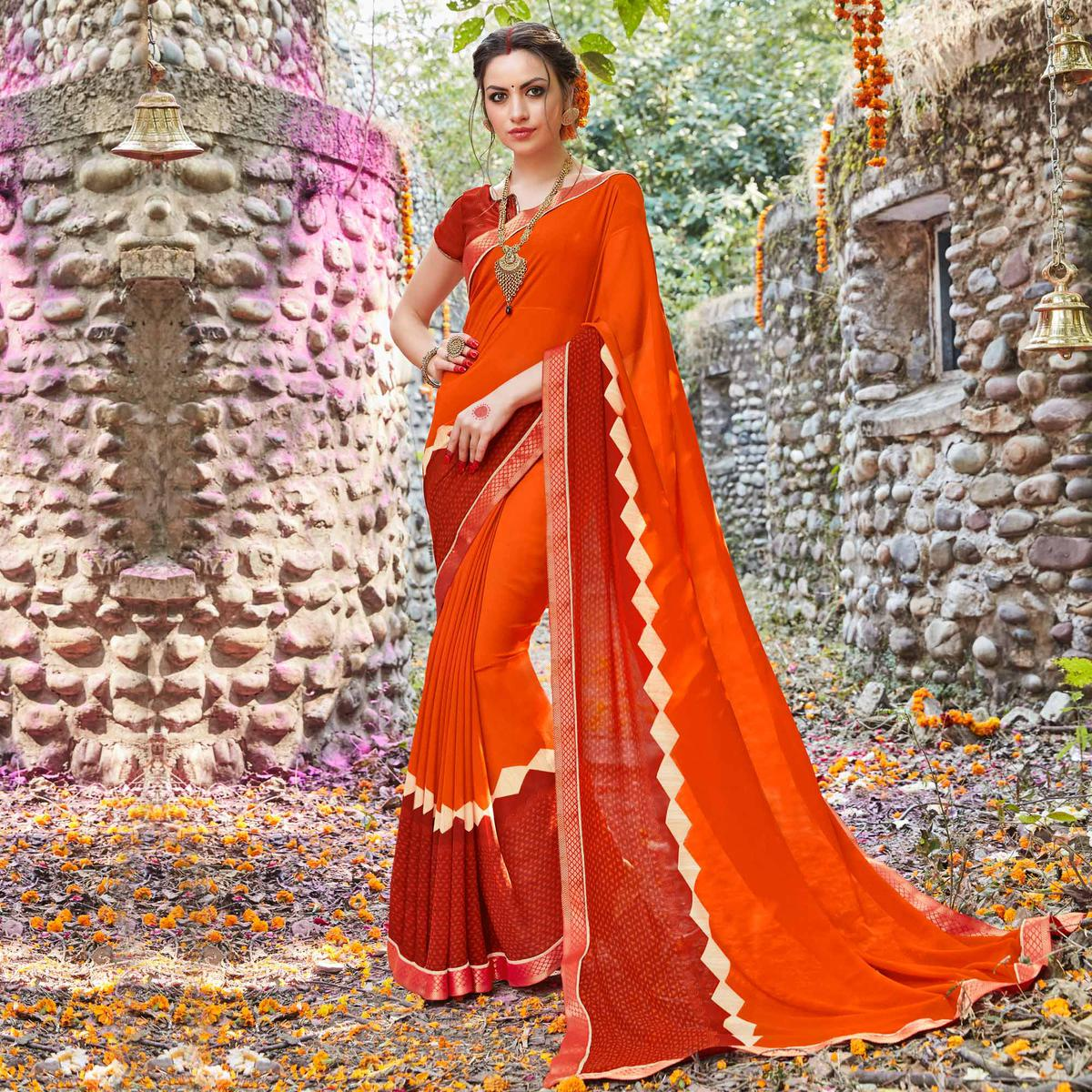 Red - Orange Casual Printed Saree