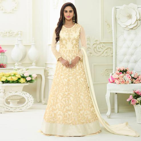Impressive Cream Colored Embroidered Party Wear Georgette Anarkali Suit