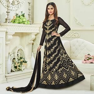 Flattering Black Colored Embroidered Party Wear Georgette Lehenga Kameez