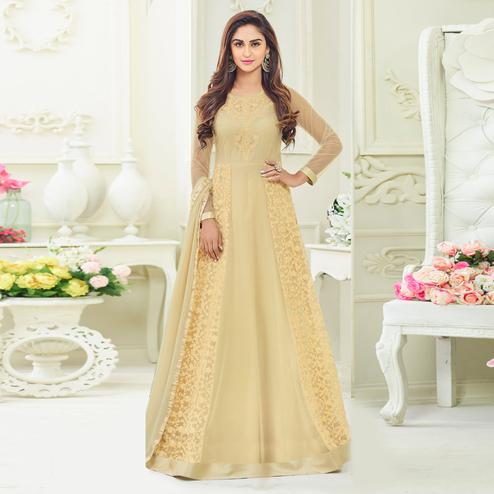 Radiant Cream Colored Embroidered Party Wear Georgette Anarkali Suit