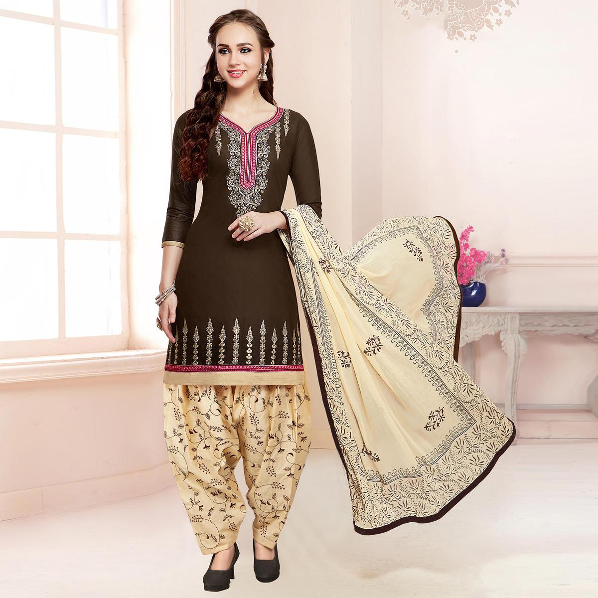 Classy Dark Brown Colored Partywear Embroidered Cotton Patiala Dress Material