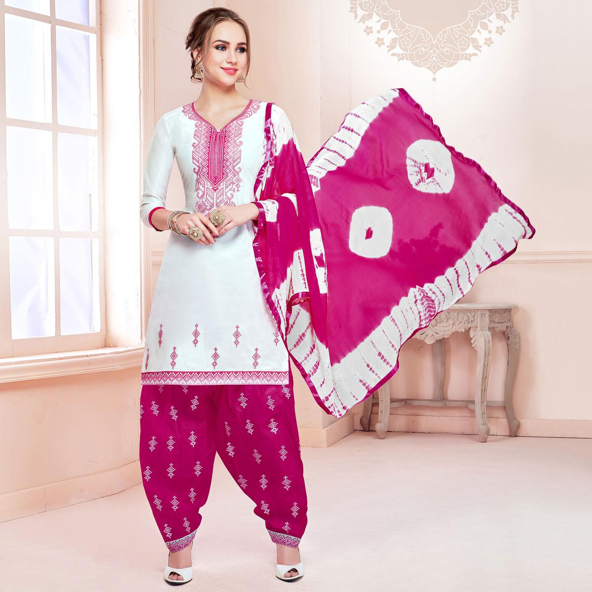 Appealing White Colored Partywear Embroidered Cotton Patiala Dress Material