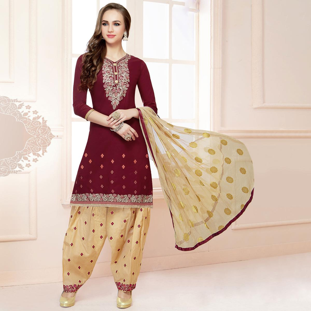 Exceptional Wine Colored Partywear Embroidered Cotton Patiala Dress Material