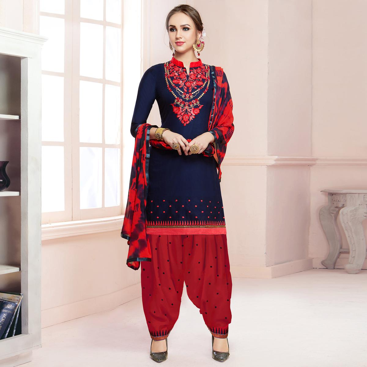 4be028eabf Buy Attractive Navy Blue Colored Partywear Embroidered Cotton Patiala Dress  Material online India, Best Prices, Reviews - Peachmode