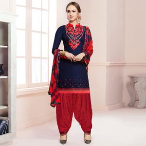 Attractive Navy Blue Colored Partywear Embroidered Cotton Patiala Dress Material