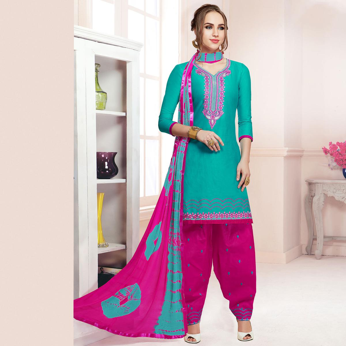 Glowing Turquoise Green Colored Partywear Embroidered Cotton Patiala Dress Material