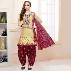 Innovative Light Yellow Colored Partywear Embroidered Cotton Patiala Dress Material