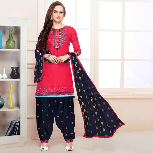 Charming Dark Pink Colored Partywear Embroidered Cotton Patiala Dress Material
