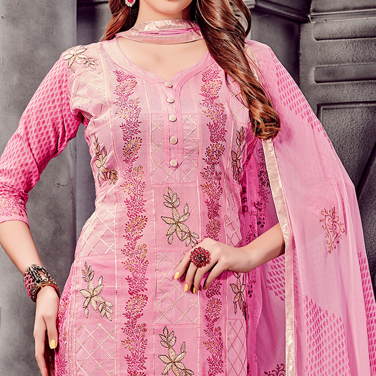 Demanding Pink Colored Party Wear Embroidered Cotton Dress Material