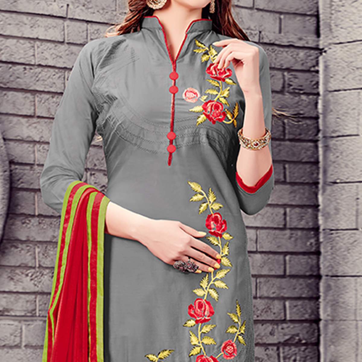 Unique Grey Colored Party Wear Embroidered Cotton Dress Material